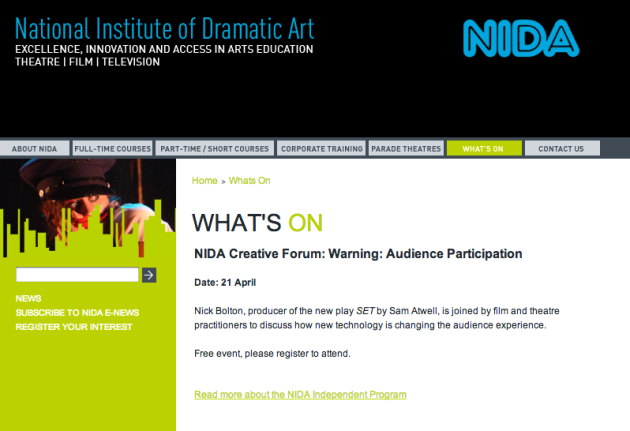 NIDA Creative Forum Screenshot